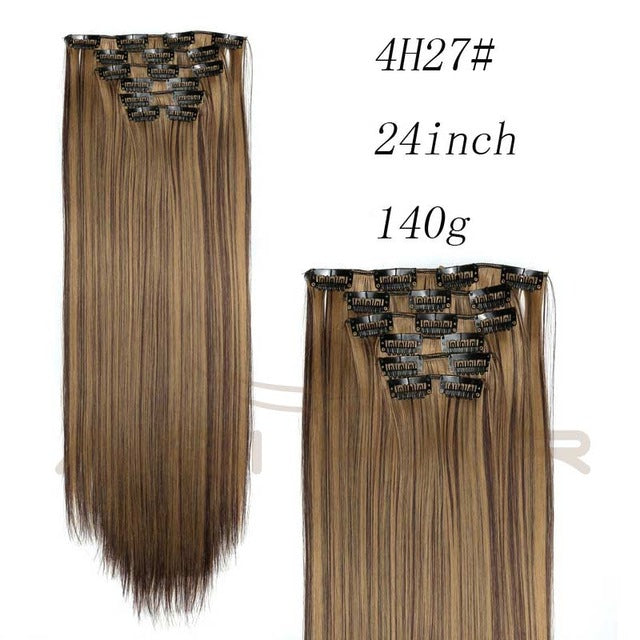 "6pcs/Set Blond Synthetic  Clips in Hair Extension, Long Straight, 22"", 140g, 16 Clips False Hairpieces"