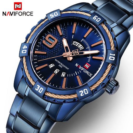 NAVIFORCE Men's Fashion Casual Brand Waterproof Quartz Watch, Military Stainless Steel Sports Watches