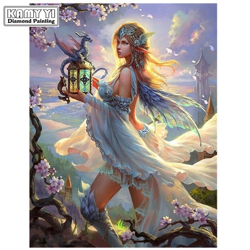 "Full Drill Square Diamond 5D DIY Painting""Fairies and Beasts"" Embroidery, Cross Stitch Rhinestone Mosaic Painting"