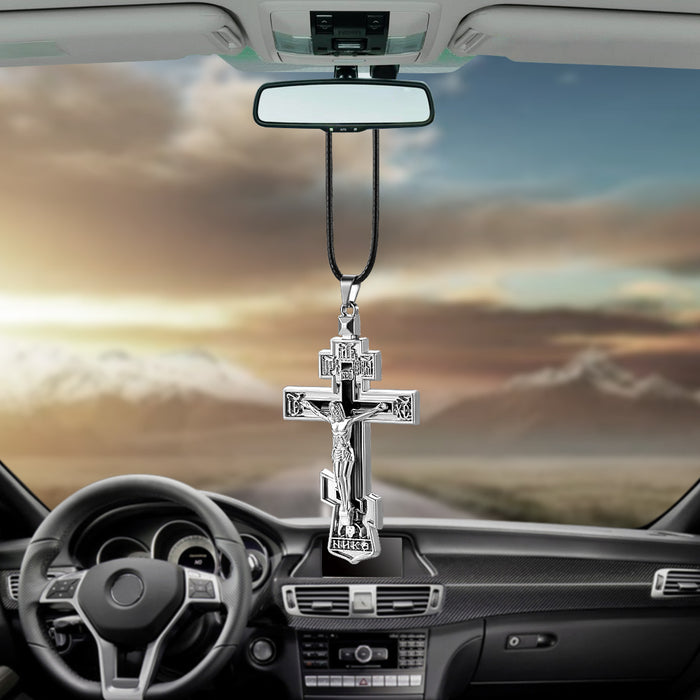 Jesus Crucifix Cross Car Rearview Mirror Decoration Hanging Pendant Automobiles Decor Ornaments Accessories Gifts