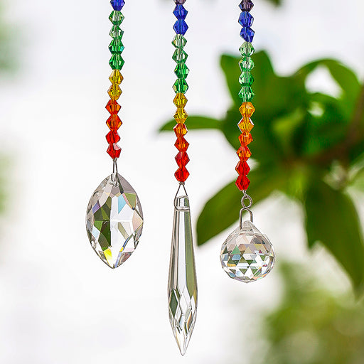 H&D 63/38/20mm Chakra Crystal Ball Chandelier, Prisms Pendants Parts 3pcs/set Suncatcher Rainbow Maker Hanging Drop Home Ornament