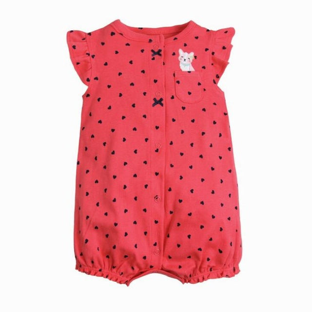 2018 OrangeMom Baby Girl Jumpsuits, 100% Cotton O-Neck Short Romper