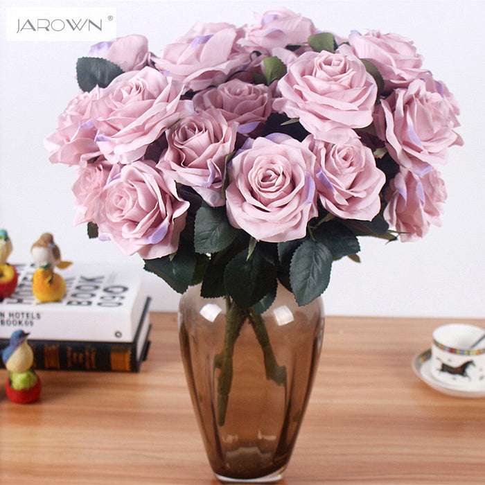 Artificial Silk French Rose Floral Bouquet Fake Flower for Wedding & Party Decor - 1 Bunch