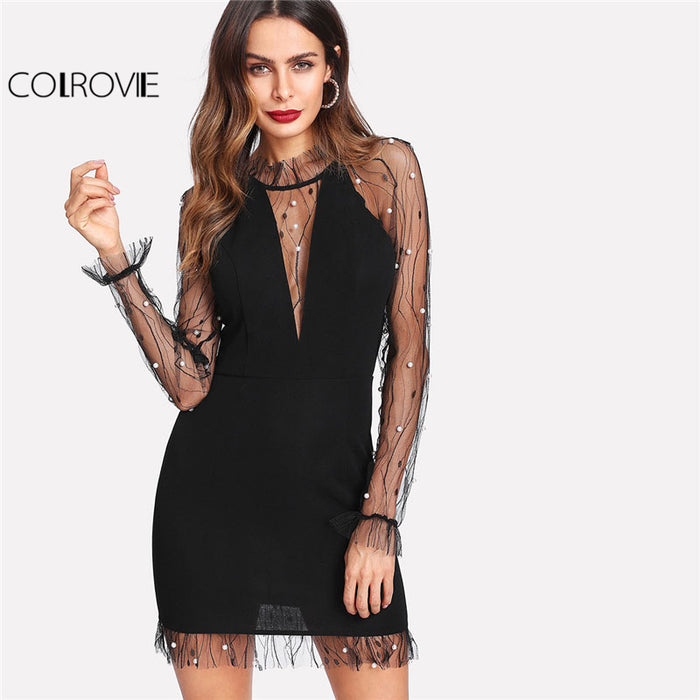 COLROVIE Women's Black Pearl Beading Vine Mesh Panel Dress with Ruffle Round Neck Long Sleeve