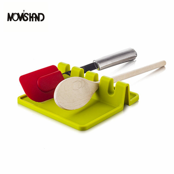MOM'S HAND Kitchen Cooking Tools Kitchen Silicone Spoon Rest Utensil Spatula Holder Heat Resistant