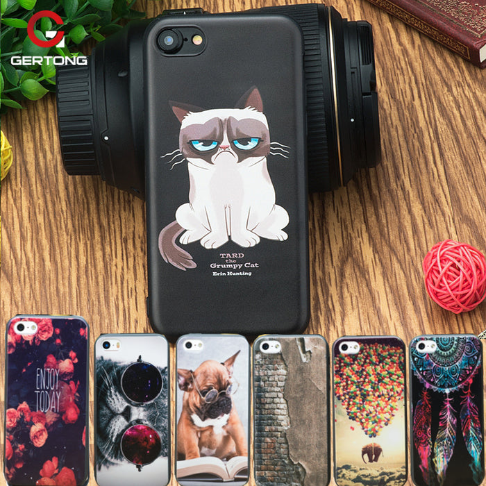 GerTong Soft TPU Case for iPhone 6 6S 7 8 Plus 5 S 5S SE X Cover Coque For iPhone 6 Phone Bag Shell Cat Cartoon Patterned Funda