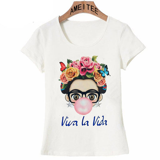 Charismatic Frida Kahlo Cute Cartoon Art T Shirt Summer Cute Women T Shirt 2018 New Design Tops Girl T-Shirt Ladies Casual Tees