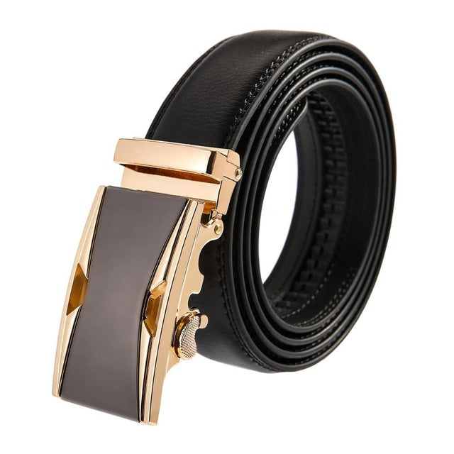 YOJBO Genuine Leather Belt for Men  | 2018 Luxury Designer Brand w/ Gold Automatic Buckled Wedding Belt Waist Straps