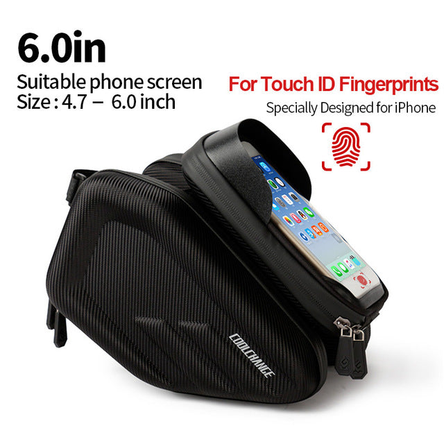 CoolChange Waterproof Bicycle Bag for Frame, Front Head & Top Tube ,Double IPouch 6.2 Inch Touch Screen