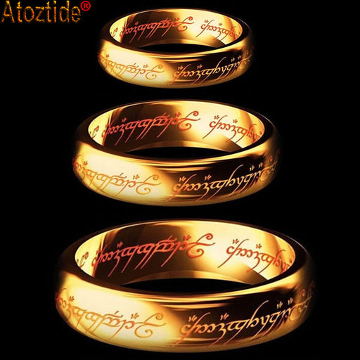 New Fashion Hobbit Midi Gift Ring , Gold Color, Tungsten, 1 Ring Of Power, Gold Lord of Ring- Unisex