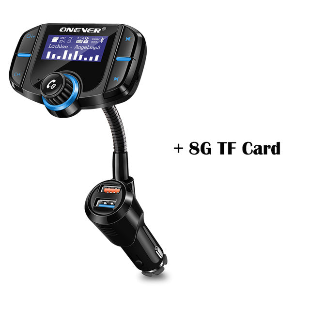 Onever FM Transmitter Bluetooth FM Modulator 2 Port Quick Charge 3.0 Charger Handsfree Car Kit 1.65'' MP3 Player Support Siri