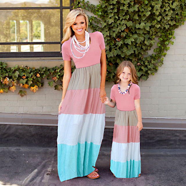 2018 Mother & Daughter Striped Sleveless Dress