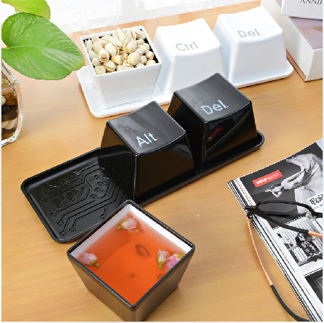 3pcs/Set Novelty Creative Simple Keyboard Ctrl ALT DEL Type Tea Coffee Mug Cup Container