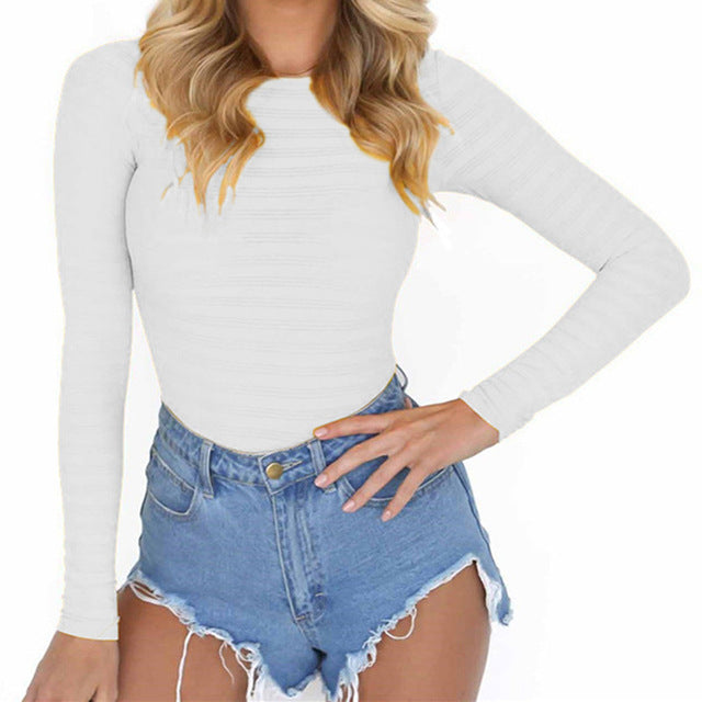 Autumn Women's Bodysuits Sexy Stretchy Rompers w/ Long Sleeve O Neck  (1pc) -  GV125