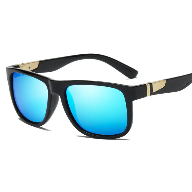 YOJBO Luxury Polarized Sunglasses for Men & Women, Square Vintage Mirror (Black Blue Brown)