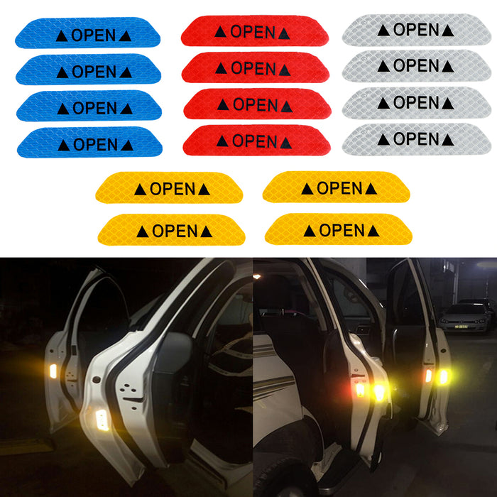 4Pcs/set Warning Mark Reflective Tape Universal Exterior Accessories Car Door Stickers OPEN Sign Safety Reflective Strips