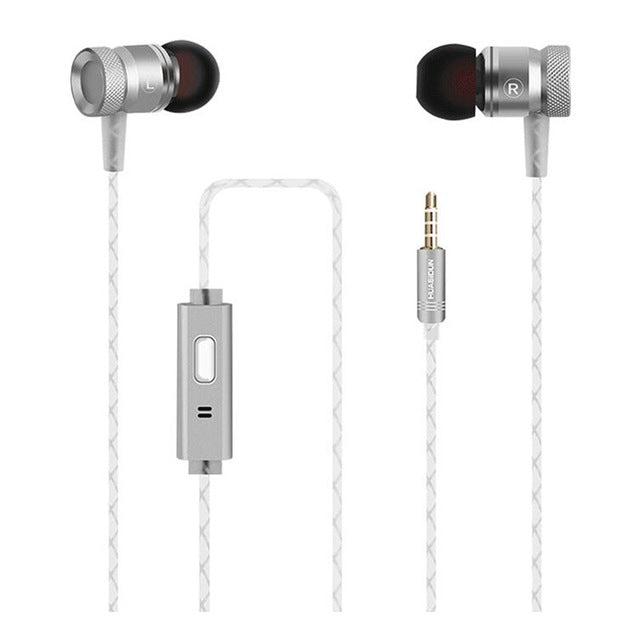 Luxury Hifi Heavy Bass Earphone Metal Music Stereo Wired Headphone With Microphone 3.5MM Jack Earbuds Headset + Black Zipper Box