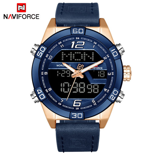 NAVIFORCE Luxury Brand Men's Fashion Sports Watches, Waterproof Quartz Date Clock , Leather Army Military Wrist Watch