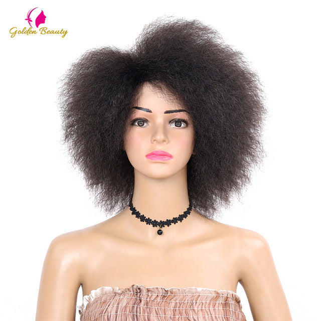 Golden Beauty Kinky Curly short Afro Wigs, 6 Inches, Nature Black,Synthetic Wig For Women 90g