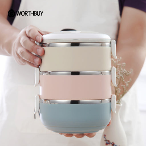 WORTHBUY Gradient Color Japanese Thermal Lunch Box for Food, Bento Box, Stainless Steel LunchBox For Kids Portable Picnic School