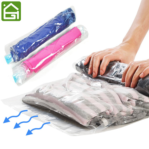 1 pc Clothes Compression Storage Bags Hand Rolling Clothing Plastic Vacuum Packing Sacks Travel Space Saver Bags for Luggage