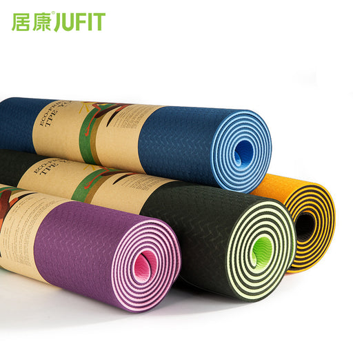 JUFIT 1830*610*6MM TPE Yoga Mat, Double Sided Color, Exercise Sports Mats For Fitness Gym Environmental Tasteless Pad