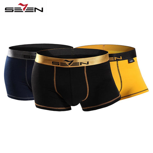 Seven7 Elastic Casual Men's Boxers, Sexy Design, Comfortable, 3 Pcs\Pack