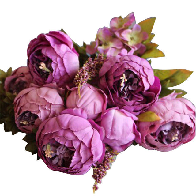13 Heads European Style Fake Artificial Peony Silk Decorative Party Flowers For Home Hotel Wedding Office Garden Decor
