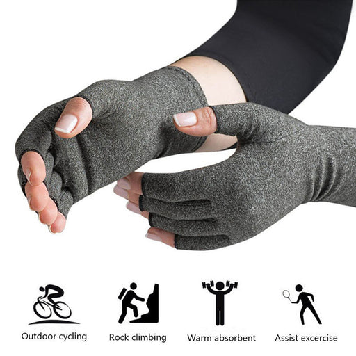 1 Pair Unisex Cotton Therapy Compression Gloves Hand Arthritis Joint Pain Relief Light Grey Size S/M/L