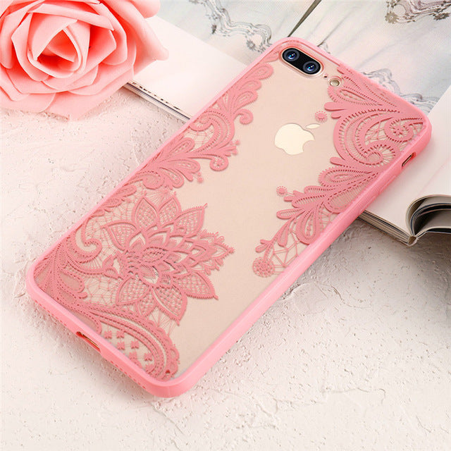 KISSCASE Case For iPhone 6 6s 7 8 Plus 5 5S 3D Lace Flower Back Cover For iPhone 6 6s 7 8 Plus 5 5S SE