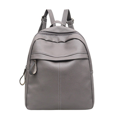 High Quality PU Leather Women's Backpack Fashion Solid School Bags For Teenager Girls, Large Capacity , Casual Women- Black