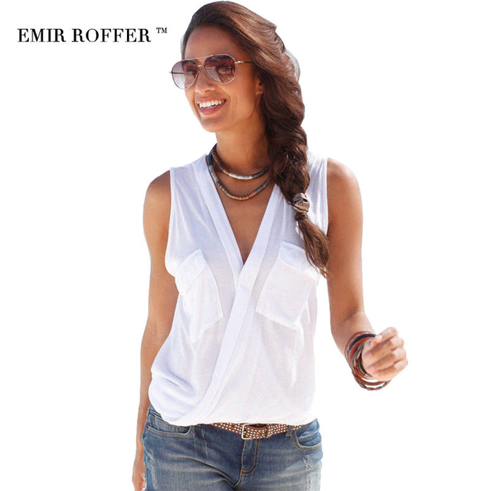 [EMIR ROFFER] Women's Summer Sexy Top T-shirt V Neck Sleeveless w/  Patchwork Shirt, Cotton - Plus Size