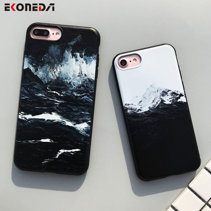 EKONEDA Black TPU Case For iPhone 6 6S Plus Case Silicone Sea Wave Himalaya Mountain Cover For iPhone 7 7 Plus 8 8 Plus X Case
