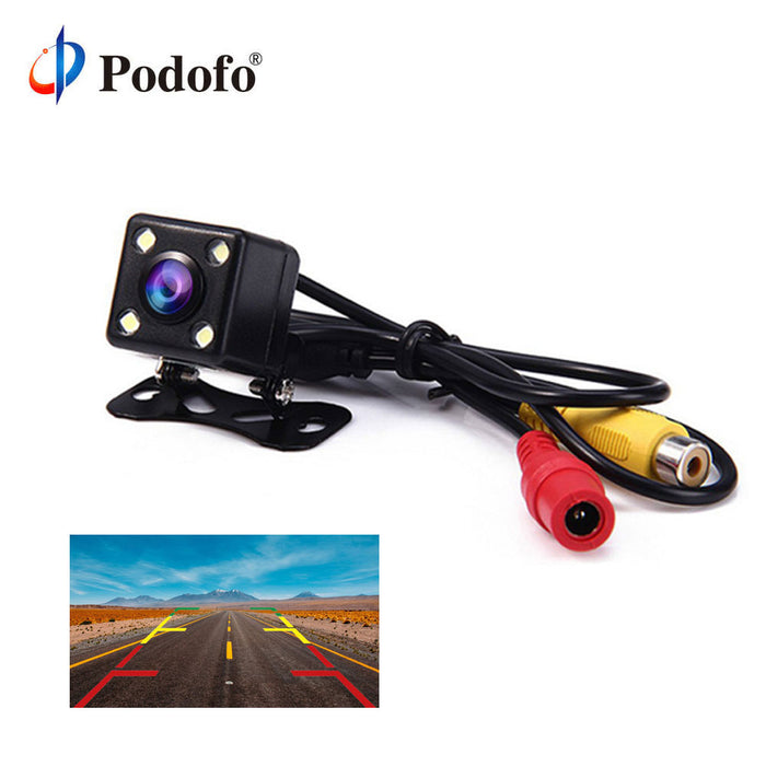 Podofo 4 Led Lamps Reverse Camera Night Vision HD Car Rear View Camera Wide View Angle Reverse Parking Assistance Backup Cameras