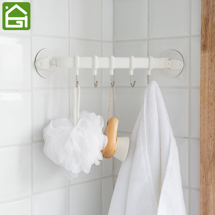Rustproof Vacuum Suction Cup Hook Waterproof Bathroom Kitchen Corner Towel Hanger with 5 Stainless Steel Hooks
