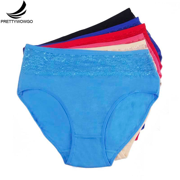 Prettywowgo 6 Pcs/lot Hot Sale 2018 Plus Size Women's High Waist Solid Color Panties 6956