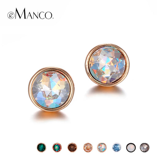 eManco Wholesale Rhinestones Piercing Stud Earrings Set Mix Statement Geometric Create 8 Colors 2 Sizes Earrings Gifts for Women