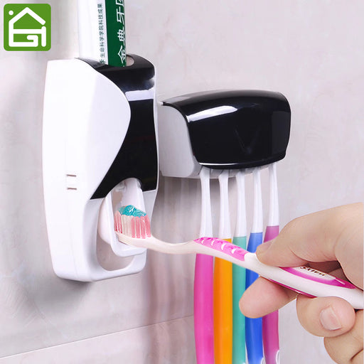 1 Set Creative Automatic Plastic Lazy Toothpaste Dispenser w 5 Toothbrush Holder,Squeezer for Bathroom Shelves