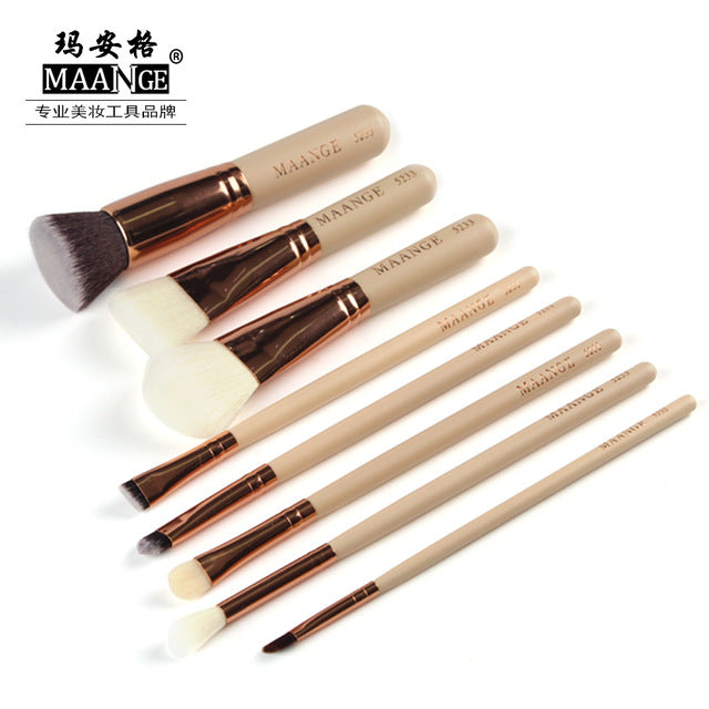 MAANGE 8/15 Pcs Professional Makeup Brushes Set, Powder Foundation Eye, Shadow Blush Blending Lip Make Up Beauty Cosmetic Tool Kit