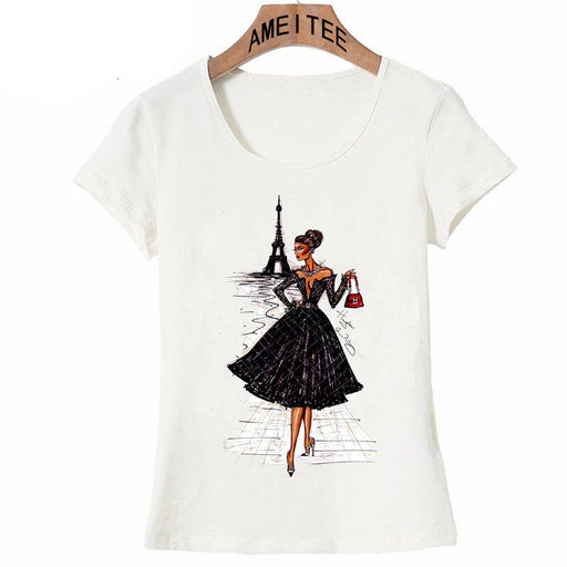 Vintage Vogue Paris Black Printing Girl Shirt Summer  Fashion Women T Shirt Novelty Casual Tops Hipster Cool Ladies Tee
