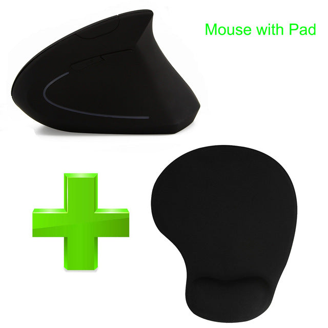 Wireless Mouse Ergo Optical 2.4G 800/1200/1600DPI Colorful Light Wrist Healing Vertical Mice with Mouse Pad Kit For PC