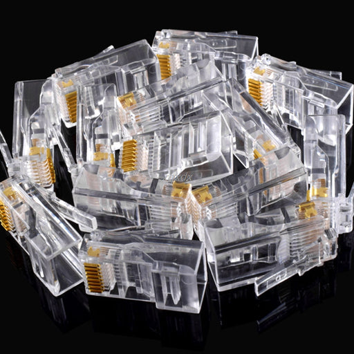 25Pcs Gold plated RJ45 Net Network Modular Plug Cat5 CAT5e Connector New Z17 Drop ship