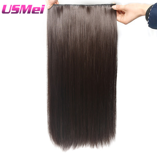USMEI Natural Silky Straight Hair Extention , 4Inches Clip in Women Long Fake Synthetic Hair , 120g, 5 Clips/Piece