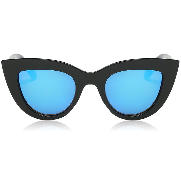 Retro Vintage Cat Eye Sunglasses for Women Plastic Frame Mirrored Lens SJ2939