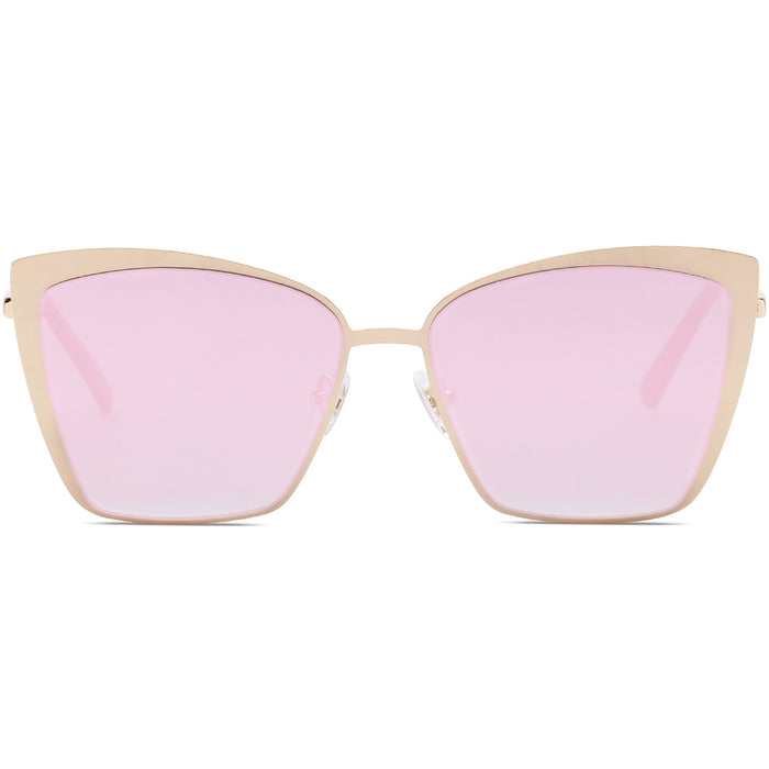 Cat Eye Sunglasses for Women Fashion Mirrored Lens Metal Frame SJ1080