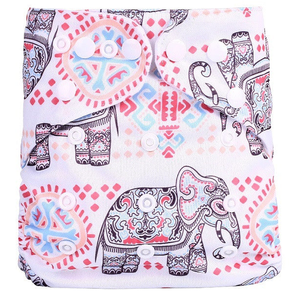 1PC Reusable One Size Pocket Cloth Diaper, Waterproof w/ Cartoon Animals Design, Nappy Suit: 3-15KG