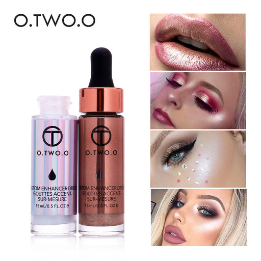 O.TWO.O Liquid Make Up Highlighter, Cream Concealer, Shimmer Face Glow, Ultra-concentrated Illuminating Bronzing Drops