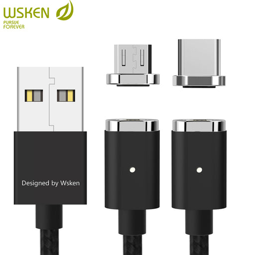WSKEN Mini 2 Magnetic Cable Micro USB Type C Cable for Samsung S9 S8 Note8 Huawei Fast Charging Magnetic Charger Cable USB C 1M