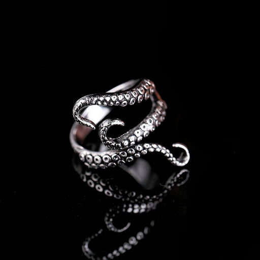 Rinhoo Cool Rings, Titanium Steel, Gothic Deep Sea Octopus Ring, Fashion Jewelry, Adjustable Size - 1pc
