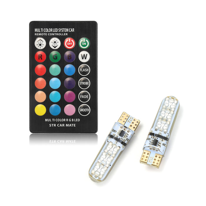 2 Pieces T10 W5W LED Car Lights LED Bulbs RGB With Remote Control 194 168 501 Strobe White Red Amber 12V